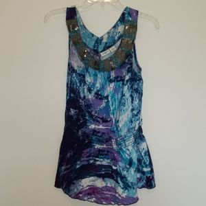 Cato Sparkly Collar Tank Purple Blue Black Medium